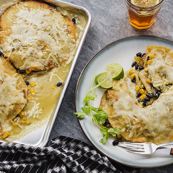 Black Bean&CornStacked Enchiladas Verde