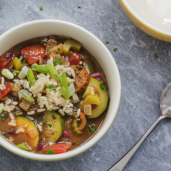 Garden Gumbo with Smoked Sausage & Kidney Beans
